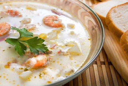 Суп из плавленых сырков и креветок
