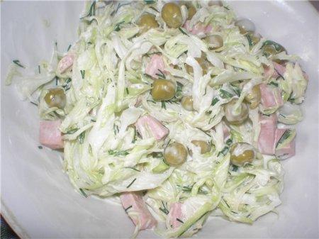 Капустный салат с горошком, рецепт